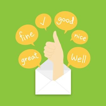 Хороший язык жестов руки появляется из почты и текстового поля на фоне зеленого цвета