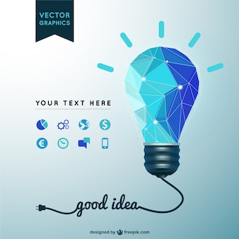 Good idea background with polygonal light bulb