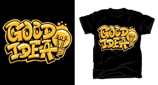 좋은 아이디어 낙서 레터링 아트 티셔츠 디자인