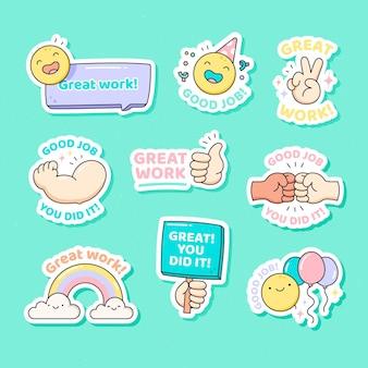 Good job and great job stickers set Free Vector