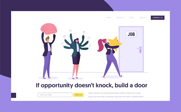 좋은 구직 개념 방문 페이지. 최고의 기회를 찾는 사람들 캐릭터는 아이디어 보상 능력 지식을 위해 경쟁합니다. 인적 자원 웹 사이트 또는 웹 페이지. 플랫 만화 벡터 일러스트 레이션