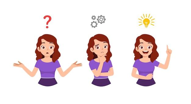 格好良い女性の思考とアイデアのプロセスの検索