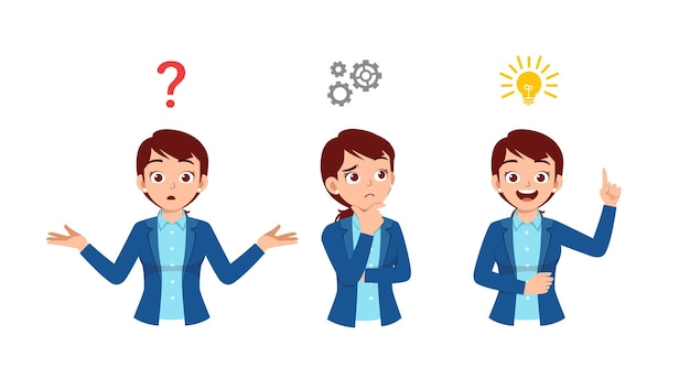 Good looking woman thinking and search for idea process illustration