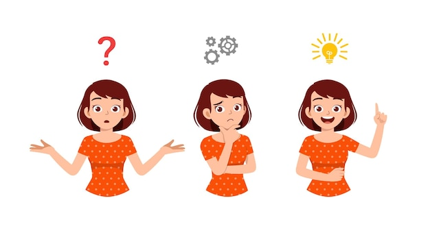 Good looking woman thinking and search for idea process