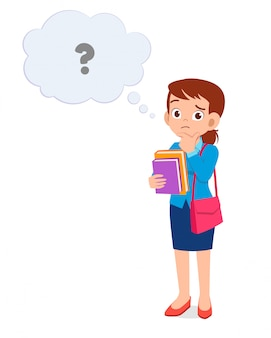 Good looking woman with question mark above the head