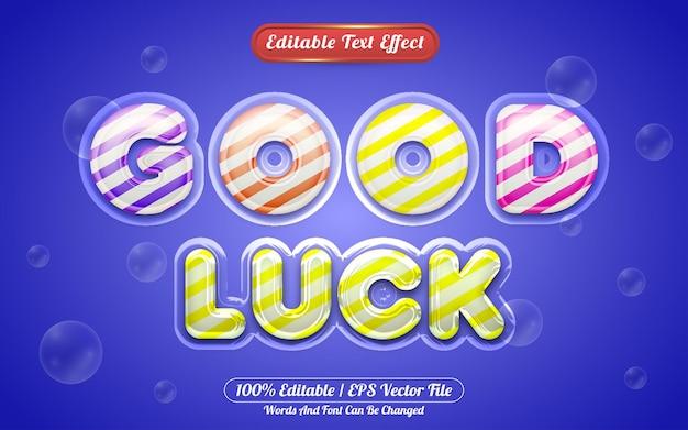 Good luck 3 editable text effect liquid style