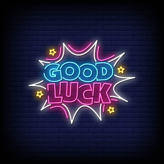 Good luck neon style text