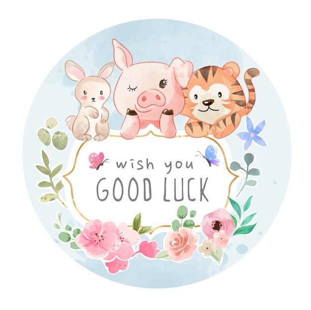 Знак удачи с милой дружбой животных с иллюстрацией ярких цветов