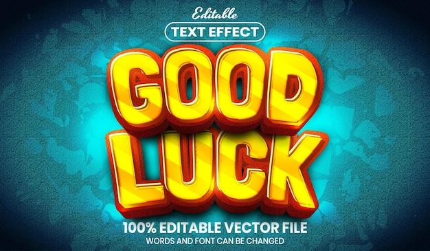 Текст удачи, редактируемый текстовый эффект стиля шрифта