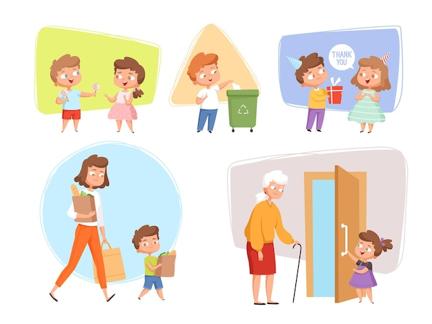 Good manners. perfect behaving kids obedient peoples offers childrens talking with elder person vector characters. illustration polite manners and etiquette, courteous respect
