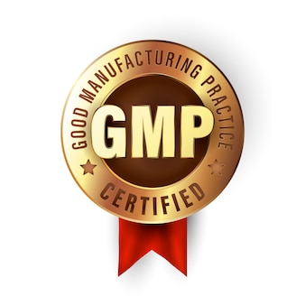 Good manufacturing practice stamp. gmp certified badge created in luxury gold style. sticker for premium quality products.