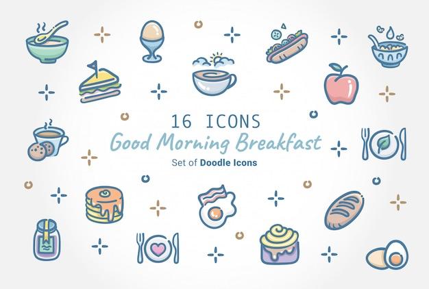 Доброе утро, завтрак баннер дизайн иконок