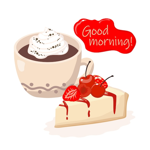 Good morning card: coffee cup, cheesecake, greeting