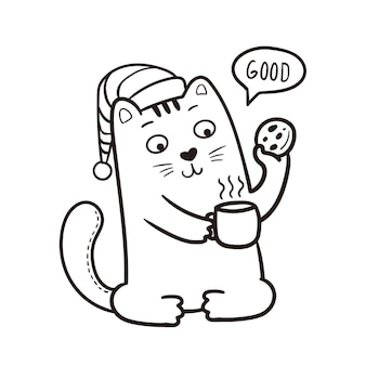 Good morning cat illustration