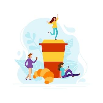 小さな人とおはようコンセプト。淹れたてのコーヒーとクロワッサンで目を覚まします。ベクトルフラットグラフィックデザインイラスト。