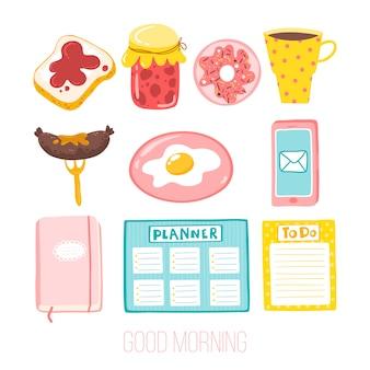 좋은 아침. 소녀 스티커의 귀여운 세트입니다. 간단한 만화 스타일의 일러스트