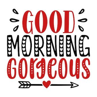 좋은 아침 화려한 독특한 타이포그래피 요소 프리미엄 벡터 디자인