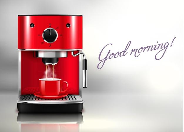 おはようリアルなイラストと赤いコーヒーマシンとホットドリンクのカップ