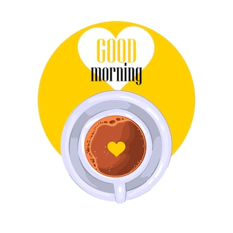 """good morning"" slogan with coffee cup in yellow circle with white heart."