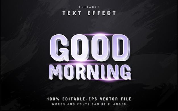 Доброе утро текст, текстовый эффект в серебряном стиле