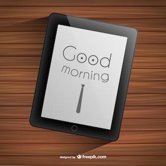 タブレット上おはようタイポグラフィ