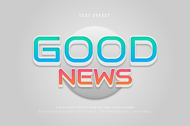 Good news 3d text effect on grey background