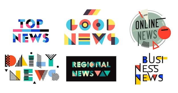 Набор котировки геометрические надписи хорошие новости. новости онлайн