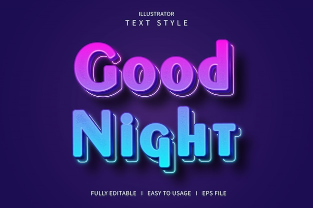 Good night,3d text style font effect blue gradation purple pink