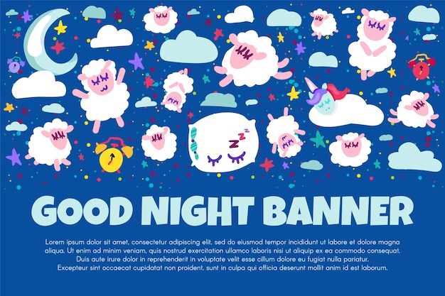 Good night banner with flat sheep