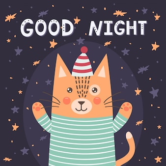 Good night card with a cute cat.