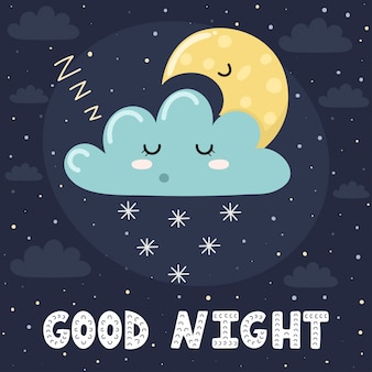 Good night card with cute sleeping cloud and the moon. sweet dreams background.  illustration