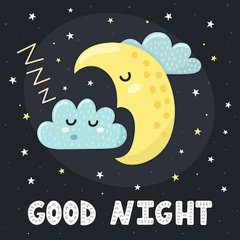 Good night card with a cute sleeping moon and a cloud.  illustration