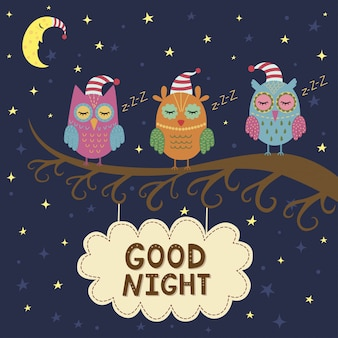 Good night card with cute sleeping owls.