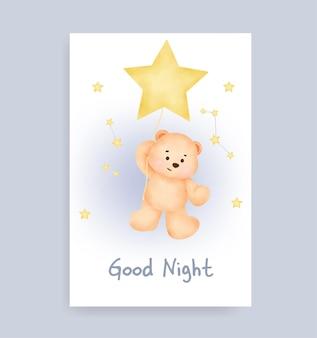 Good night card with cute teddy bear on the moon