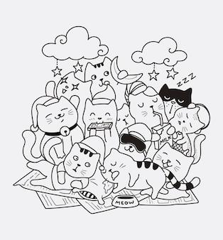 Спокойной ночи кошка каракули