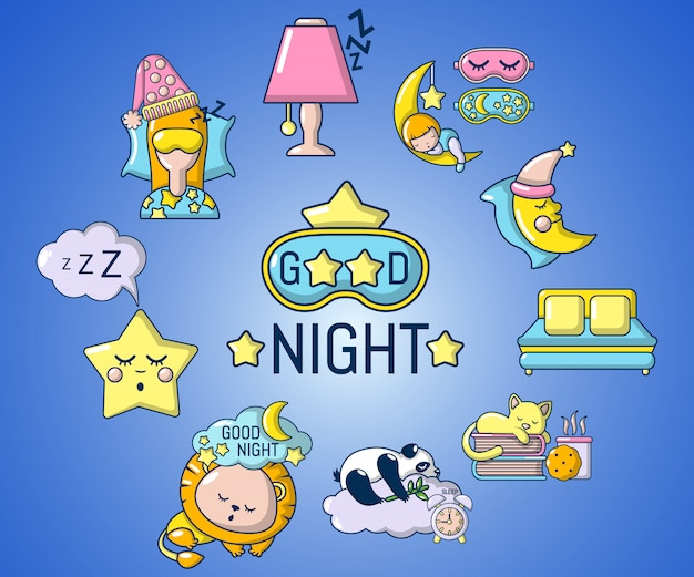 Good night concept banner, cartoon style