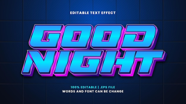 Спокойной ночи редактируемый текстовый эффект в современном стиле 3d