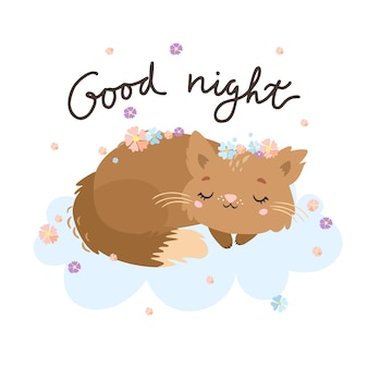Good night greeting card with cat on the cloud.