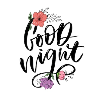 Good night. hand drawn typography lettering