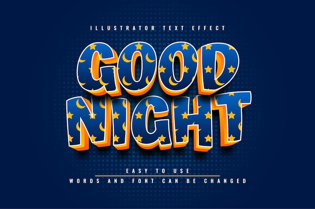 Good night illustrator editable text effect