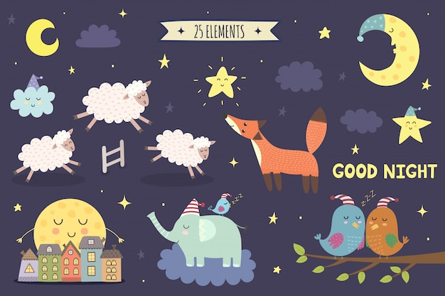 Good night isolated elements for your design. sweet dreams clipart collection.