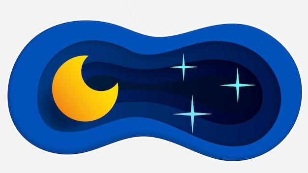 Спокойной ночи пейзаж векторные иллюстрации в стиле бумаги