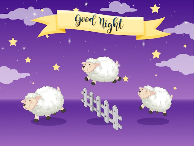 Good night poster with counting sheep
