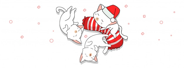 Good night with 3 cute cats cartoon