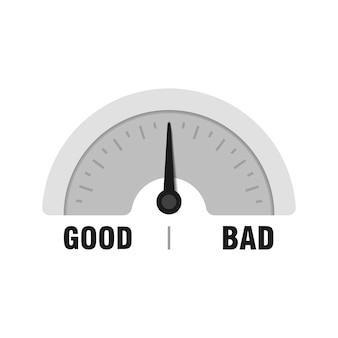 Хороший или плохой измерительный прибор. векторная иллюстрация индикатора. метр с черной стрелкой на белом фоне.