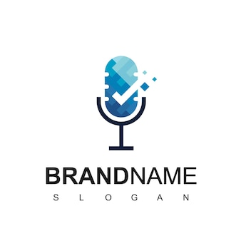 Good podcast logo template with microphone and check symbol