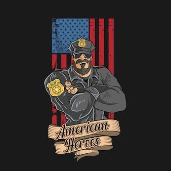 アメリカの国旗の背景を持つ良い警察