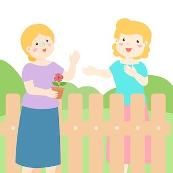 Good relationship of senior neighbour