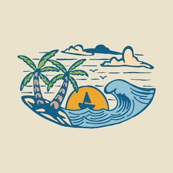Хорошая летняя волна и закат графическая иллюстрация арт дизайн футболки