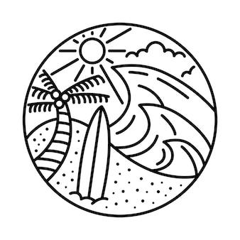 Хорошего лета с большой волной и линией доски для серфинга, графической иллюстрацией, художественным дизайном футболки